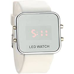 Pixnor Fashion Square Mirror Face Unisex Red LED Digital Wrist Watch with Date Silicone Band (White)