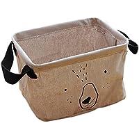itemer Cute Cartoon caja de almacenaje cestas de almacenamiento de lino y algodón plegable práctico almacenamiento organizador con 2mango ajuste más estantes (marrón)