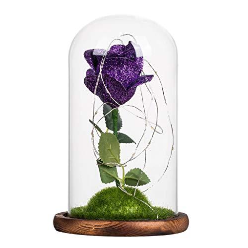 n für Weihnachten, künstliche Blumen, romantische Glas Rose Hochzeitsdekoration Heimtextilien DIY Haus Garten Dekor (Lila) ()