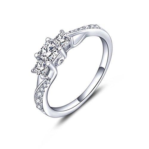 YL Jewelry Damen Ring Schmuck 925 Sterling Silber Quadratische und Runde Zirkonia Ehering für Braut