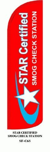 Star Certified Smog Check Station Windless Stay Open Large Swooper Flag Flutter Flag Bow Flag Feather Flag Advertising Banner Sail, Complete Kit includes Flag, Pole Set and Heavy Duty Metal Ground Spike. by Metropolitan Display -