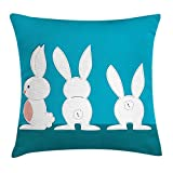 DANCENLI Rabbit Throw Pillow Cushion Cover, Cartoon Design Three Easter Bunnies in Different Positions on Blue Background, Decorative Square Accent Pillow Case, 18 X 18 inches, Azure Blue Teal