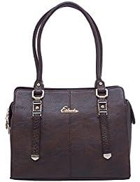ESBEDA Dark Brown Color Solid Pu Synthetic Fabric Handbag For Women