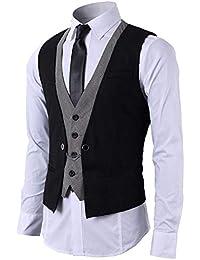 9bf82b5553 STTLZMC Hombre Chaleco de Traje Blazers Waistcoat sin Manga 2in1 Formal  Boda Ceremonia