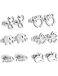 LUXUSTEEL Carino viti prigioniere, Gufo, Gatto, Elefante forma costituita di originale argento acciaio inossidabile 316L, 6pairs / set