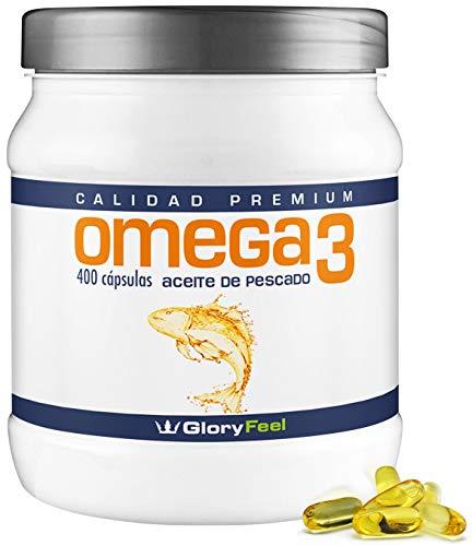 Omega 3 capsulas de 1000mg - 400 cápsulas de Omega 3 - Aceite de Pescado - Acidos Grasos Omega 3 DHA EPA - Suplemento Calidad Alemana de GloryFeel