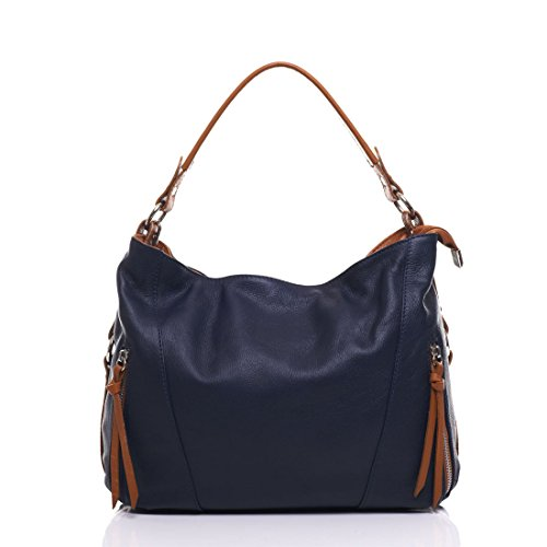 Anna Morellini - Leather Handbag - Made in Italy - 32x12x25 cm - Shopper - cross body - Shoulder Bag - Tote Bag NAVY (229)