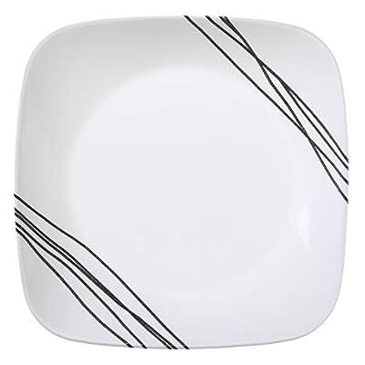 Corelle 16-Piece Vitrelle Glass Simple Sketch Chip and Break Resistant Dinner Set, Service for 4, Black