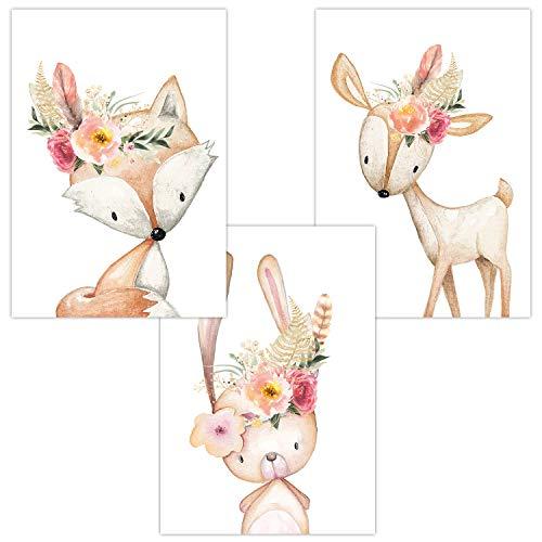 ür Babyzimmer Deko Poster | Kunstdruck DIN A4 | Dekoration Kinderzimmer Waldtiere Blumen Feder (Fuchs Hase Reh Cute Boho) ()