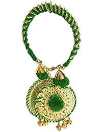 Loops N Knots Green Bangle With Green Charm Hangings/Lumba Rakhi/Wrist Band/Armlet/Bracelet For Girls/Bhabhi