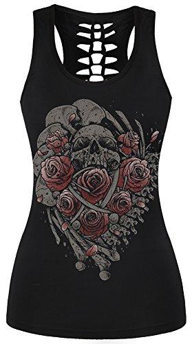 EmilyLe Femme Débardeur Gothique avec Imprimé Tête de Mort T-Shirt Caraco Tank Top Punk Noir-024