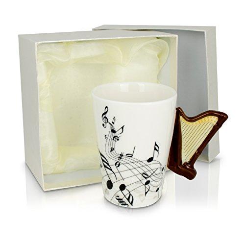 Grinscard Keramiktasse Aufdruck und Motiv Henkel - Weiß Harfe Design 0,2l - Tee und Kaffee Tasse als Geschenk