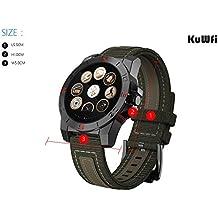 kuwfi deporte al aire libre impermeable luz prueba corazón tasa barómetro altímetro reloj inteligente para Android y iOS negro