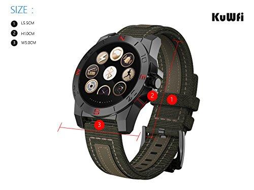 kuwfi Sport Outdoor, wasserdicht Test Herzfrequenz Barometer Höhenmesser für Android und IOS Smart Watch schwarz
