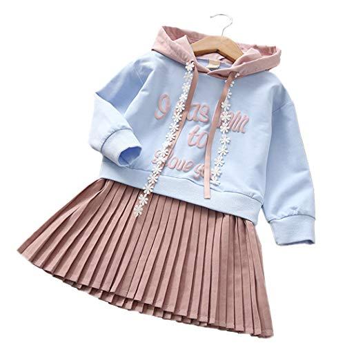 Mädchen Kleider, Allskid Herbst Langarm Brief gedruckt Blau Hoodies Falten Rock Prinzessin Rosa Kleid Girls Dress