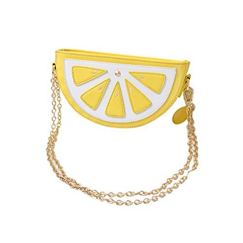 ngetasche Zitrone Tasche Frauen Obst Paket mit Gold Kette Umhängetasche Sommer Party Supplies ()