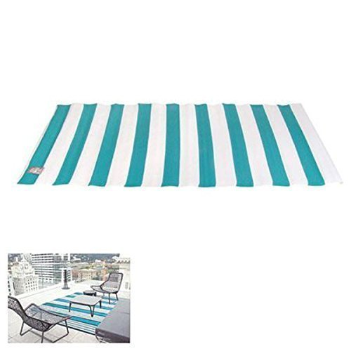 Outdoor-Teppich 90x180cm Läufer Brücke Balkon Terrasse Camping Strand Garten, Farbe:Türkis/Weiß