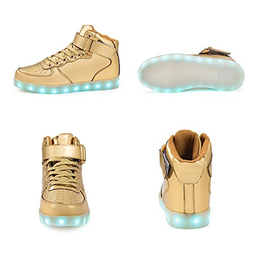 SAGUARO 7 Colors USB Charging LED Lighted Luminous Couple Casual Sport Shoes High Top Sneakers for Unisex Men Women Gold
