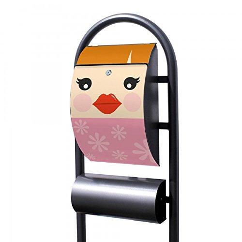 banjado - Design Stand Briefkasten mit Zeitungsrolle Metall schwarz 44x150x14cm mit Motiv Cinderella (Cinderella Stand)