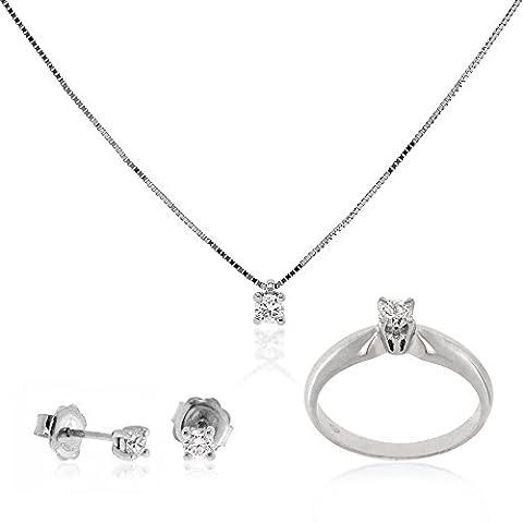 Gioiello Italiano - Parure en or avec solitaire et diamants