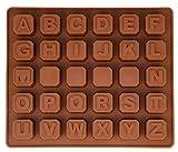 Silikon–Form mit Buchstaben, Pralinenform, Schokoladenform, Giessform, Silicone Mold, Alphabet, Kuchenverzierung, Farbe: Braun, BlueFox