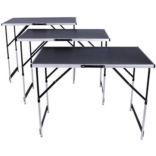 TecTake Tavolo di lavoro in alluminio per carta da parati pieghevole 300x60cm Tavolo camper campeggio picnic