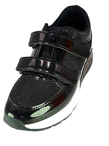 crucian Shoes Scarpe da Passeggio Donna Ragazza Moda Comoda New Tacco Basso Nero