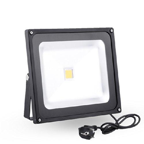 Zyurong® Un Projecteur led 50W LED Floodlight 50W blanc chaud avec fiche 4500lm 3200K avec EU plug