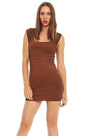 5473 Fashion4Young Damen Minikleid aus Strick Kleid Pullover mini dress verfügbar in 8 Farben (36/38, Braun)