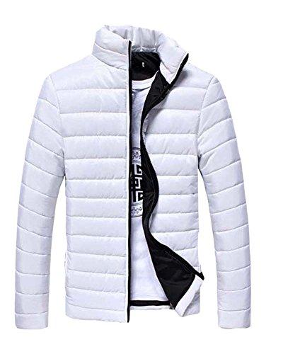 Männer Kurz Jacke Reissverschluss Winter Jacket Kältschutz Daunenjacke Weiß XXL