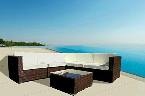 Rabatt Esszimmer-möbel (luxurygarden–Set Wohnzimmer Sessel Sofa Rattan Modular Ecke braun Kartik für Außen Garten Terrasse)