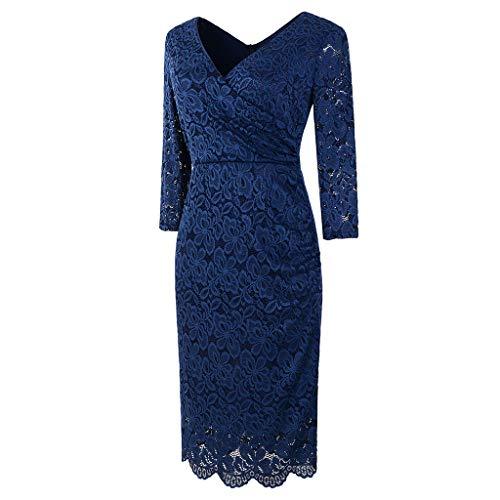 (Damen Kleid,❤️Binggong Damen Langes Spitzenkleid mit großem V-Ausschnitt Party Kleid)
