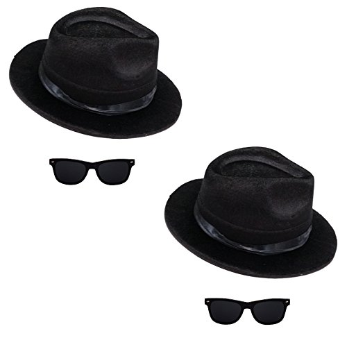 2 x Blues Brothers Set Hut und Brille für Blues Brother Kostüm Karneval (Brothers Kostüme)