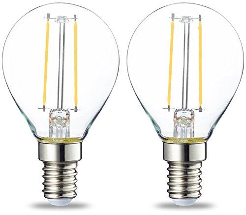 AmazonBasics Petite ampoule LED E14 P45 type globe, avec culot à vis, 2W (équivalent ampoule incandescente de 25W), transparent avec filament - Lot de 2