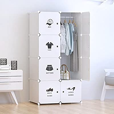 Tespo Portable Clothes Closet Wardrobe, DIY Modular Storage Organizer, Sturdy Construction, 8 Deeper Cubes with Hanging Rod and Door Stickers, Milky White produced by CB02AB - quick delivery from UK.