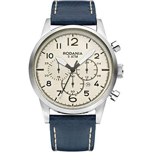 Rodania 2627921 Herren-Armbanduhr, Quarz, mit Armband aus Leder, Blau, Durchmesser 4 mm