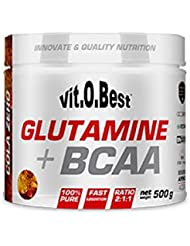 Vit-O-Best Glutamina + BCAA Complex, Suplementos Alimentarios para Deportistas, Sabor a Cola Zero - 500 gr