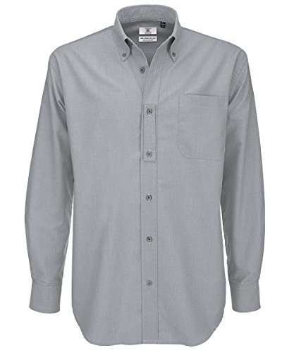 B&c oxford shirt, camicia casual uomo, grey (silver moon), xxxx-large