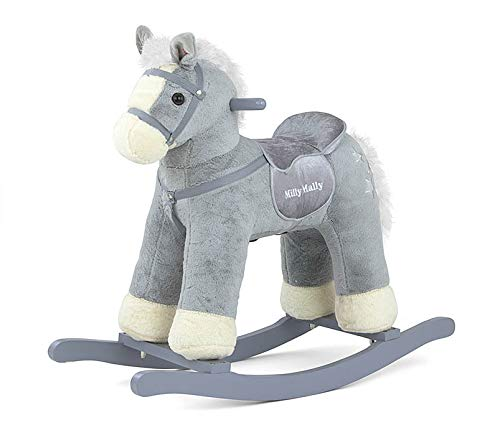 Pepe Soft and Cuddly Rocking Horse Plush Rocking Toy Pepe in 5 Colors with Sound Effects for Small Children (3-5 Years of Age), Model:Gray