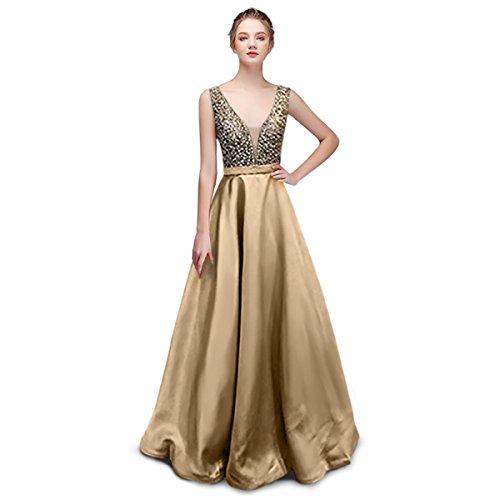 Damen Abendkleider Cocktailkleider Satin V Ausschnitt A-Line glänzend Brautjungfer Kleider...