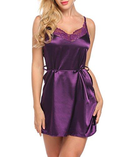Untlet Damen sexy dessous Nachtkleid Satin Negligee Straps Einfarbig Glatt Nachthemd Baby Doll Violett