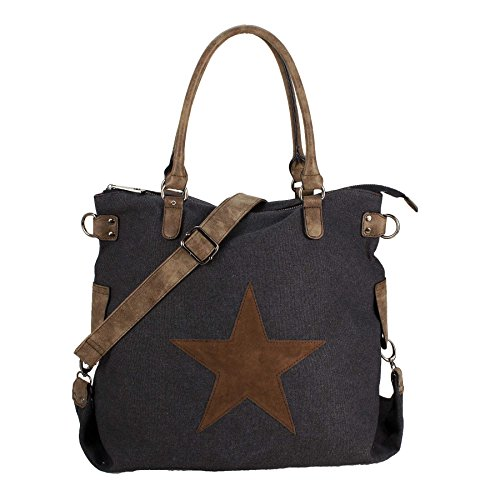 Starbag, borsa shopper in tela, motivo: stelle, 45x 37 cm(larghezza x altezza) Nero