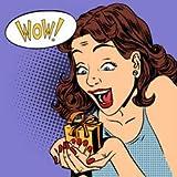 Leinwand-Bild 30 x 30 cm: 'woman glad gift wow pop art comics retro style Halftone', Bild auf Leinwand