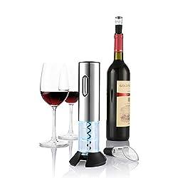zanmini Elektrischer Korkenzieher Automatischer Weinöffner Weinflaschenöffner Schraubenzieher Set mit Wine Folienschneider, Weinausgießer, Weinflaschenverschluss - Akkubetrieb