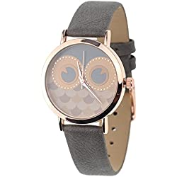 Unisex Geneva Stainless Steel Back Owl Face Dial Gray Faux Leather Strap Watch