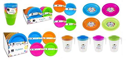 Coffret en plastique de pique-nique/barbecue pour enfant - Assiette, Bol, Gobelet, plat de service & Pichet Jus 8 Pack - 2 Pitcher/Platter vert