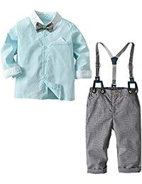 beautyjourney Camisa de Manga Larga de Color sólido para niños pequeños bebés Camiseta Mono Pantalones de Babero Ropa Caballero Pajarita Set de 4 Piezas