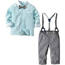 beautyjourney Camisa de Manga Larga de Color sólido para niños pequeños bebés  Camiseta Mono Pantalones de 6b2f4c0626e