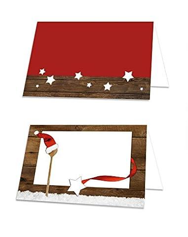 25 Stück weihnachtliche Namenskärtchen Angebots-Schildchen KOCHLÖFFEL rot weiß braune Tischkarten Namenskärtchen Tisch-Aufsteller Namens-Schilder Sitzkarten Platzkarten zum Hinstellen