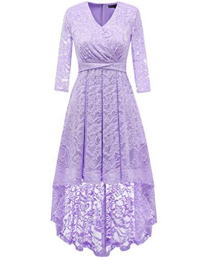 Dresstells Damen elegant Hi-Lo Cocktailkleid Unregelmässig Spitzenkleid Vokuhila Kleid mit V-Ausschnitt Festlich Party Ballkleid Lavender XL